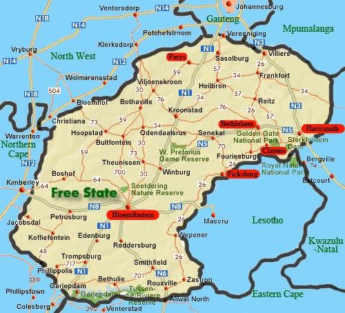 province de Free State ( Etat-libre )