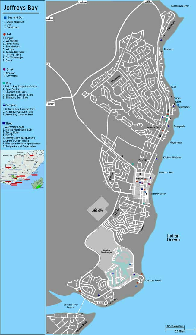 Jeffreys Bay map