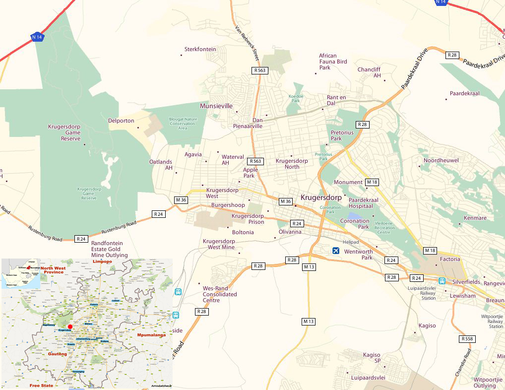 Krugersdorp street map