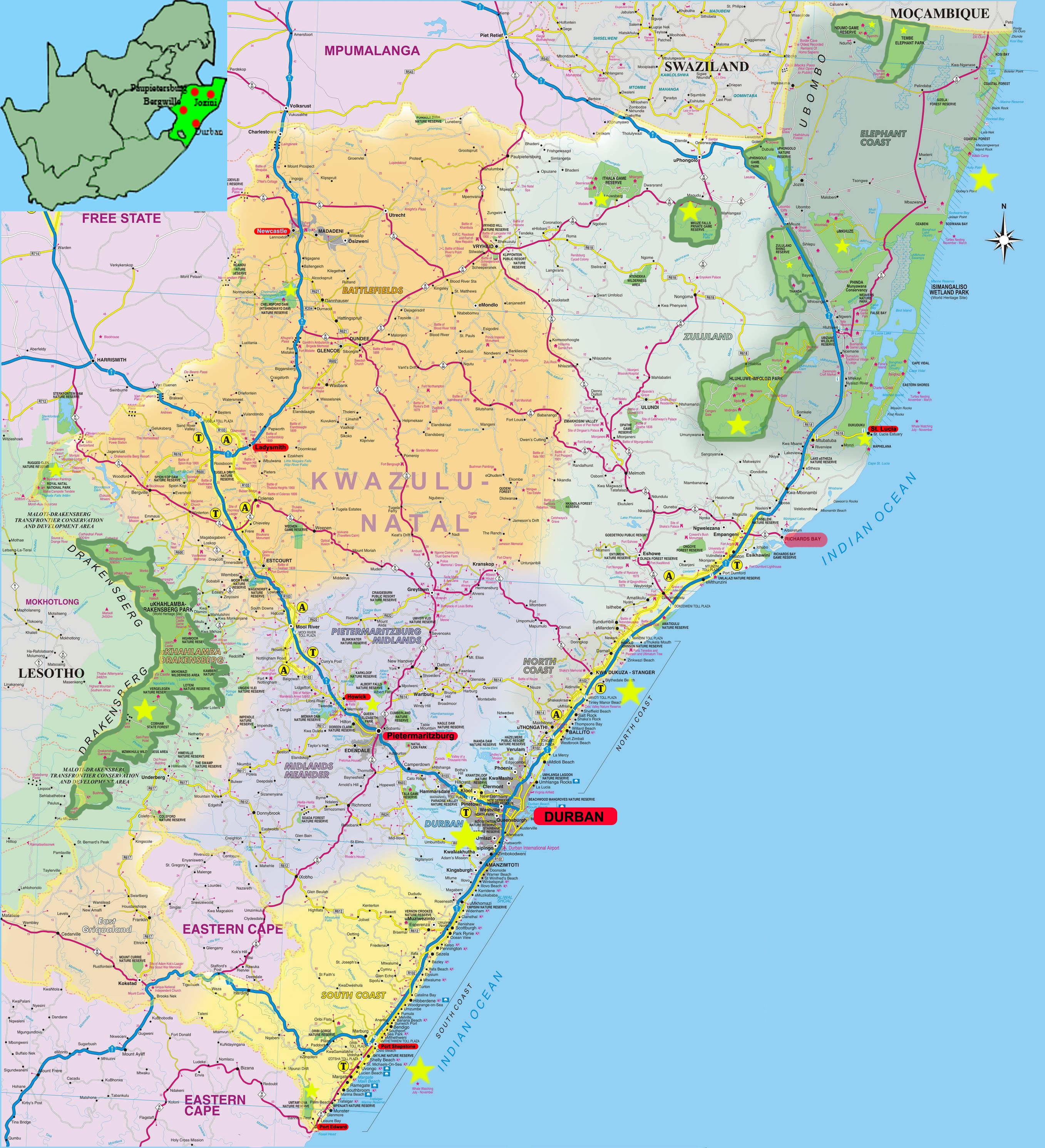 Durban travel guide accommodation tourist information kwazulu natal map sciox Gallery