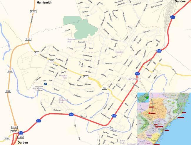 Ladysmith map