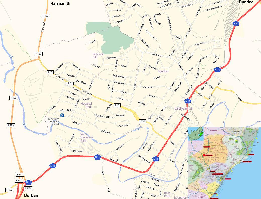 Ladysmith street map