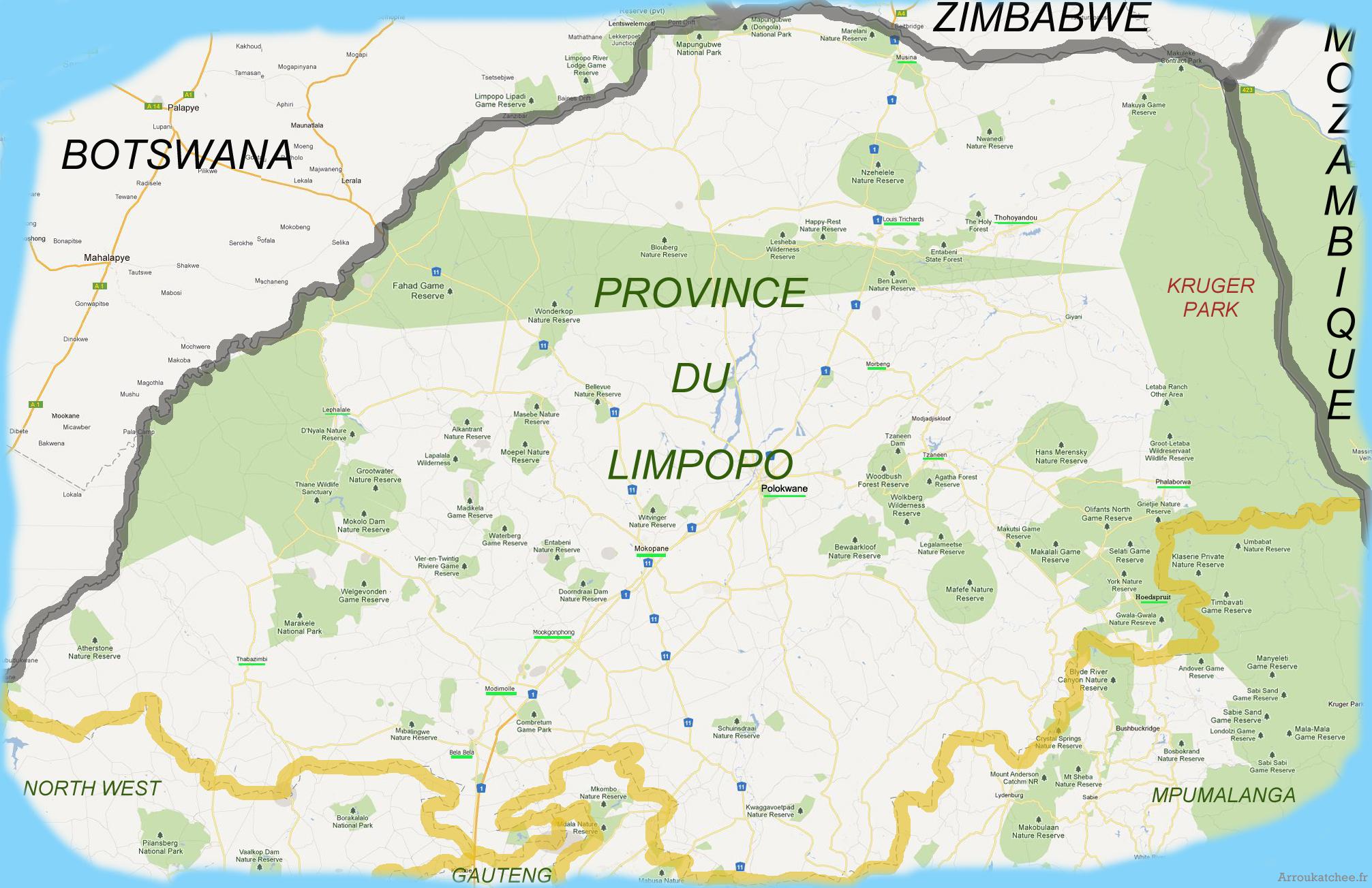 carte des parcs et reserve du Limpopo