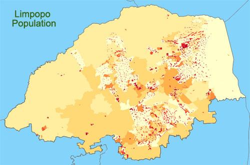 densité de la population dans la province du Limpopo