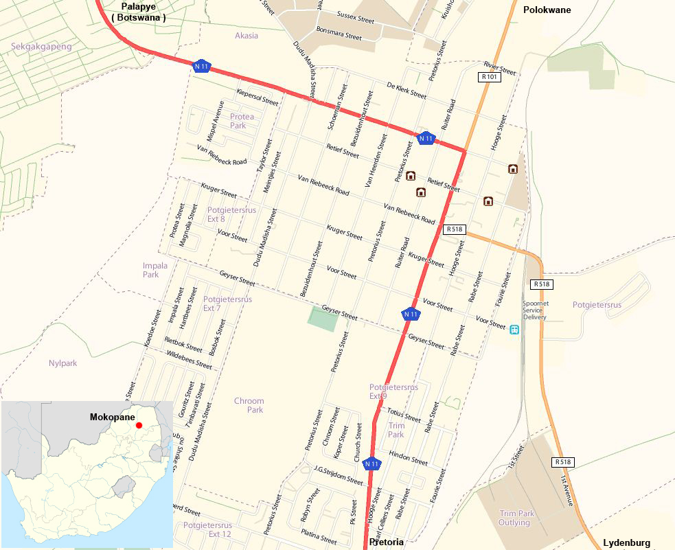 Mokopane street map