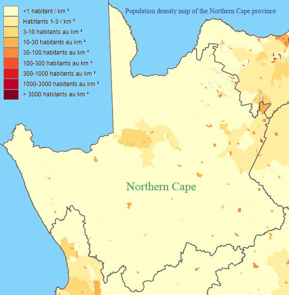 carte de la densitée de population du Cap-Nord