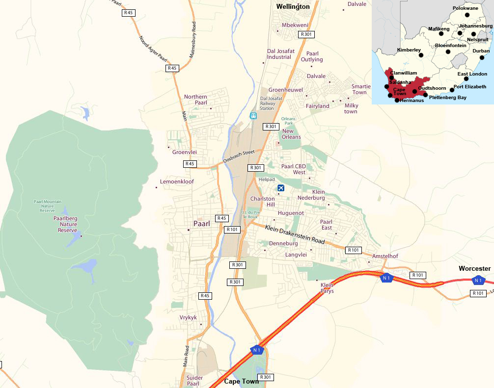 Paarl street map