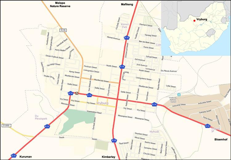 Vryburg map