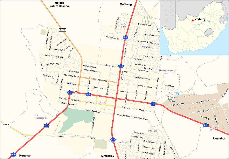 Vryburg street map
