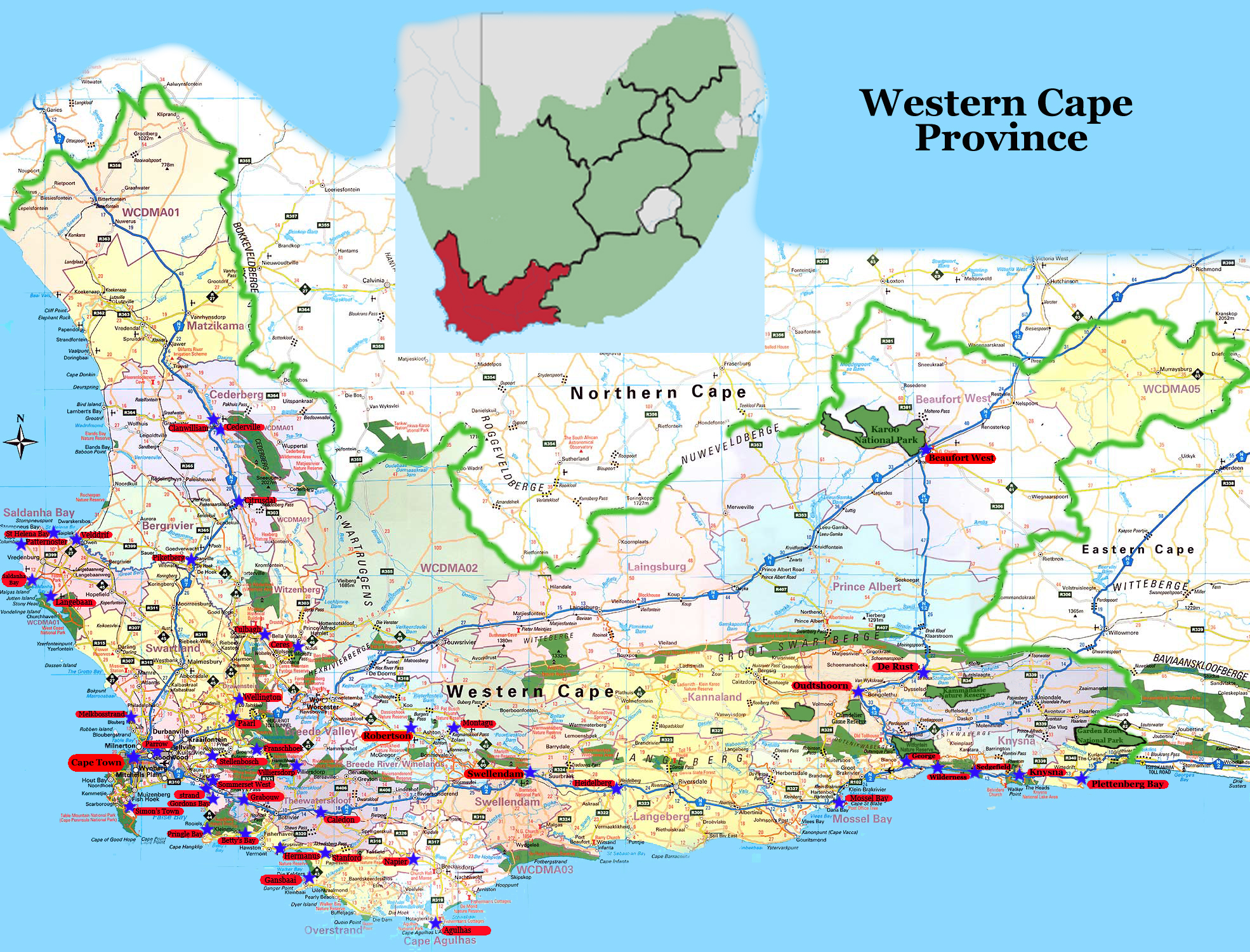 cape town western cape south africa map
