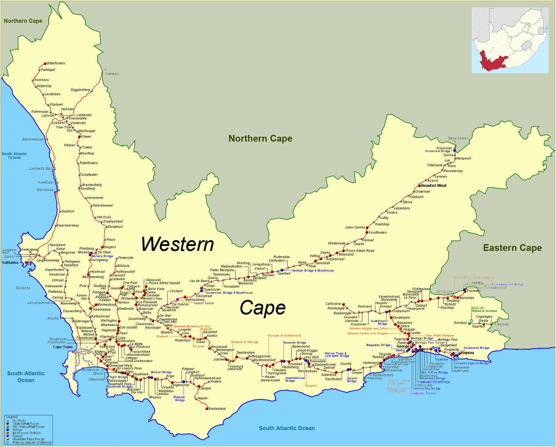 carte routiere western cape