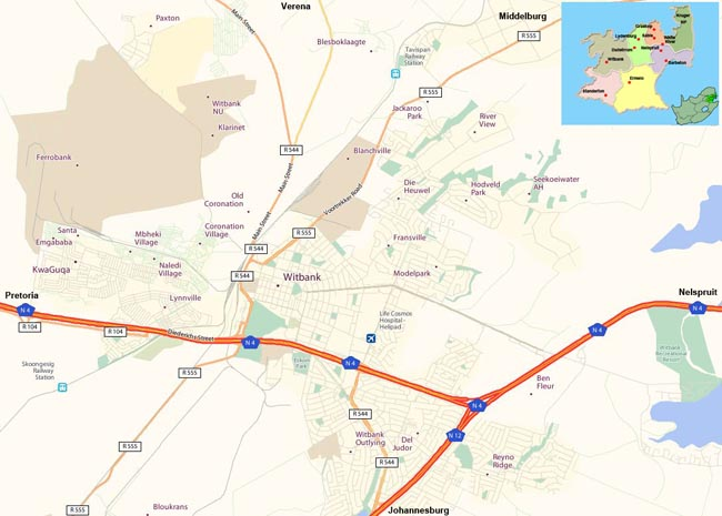 Witbank map