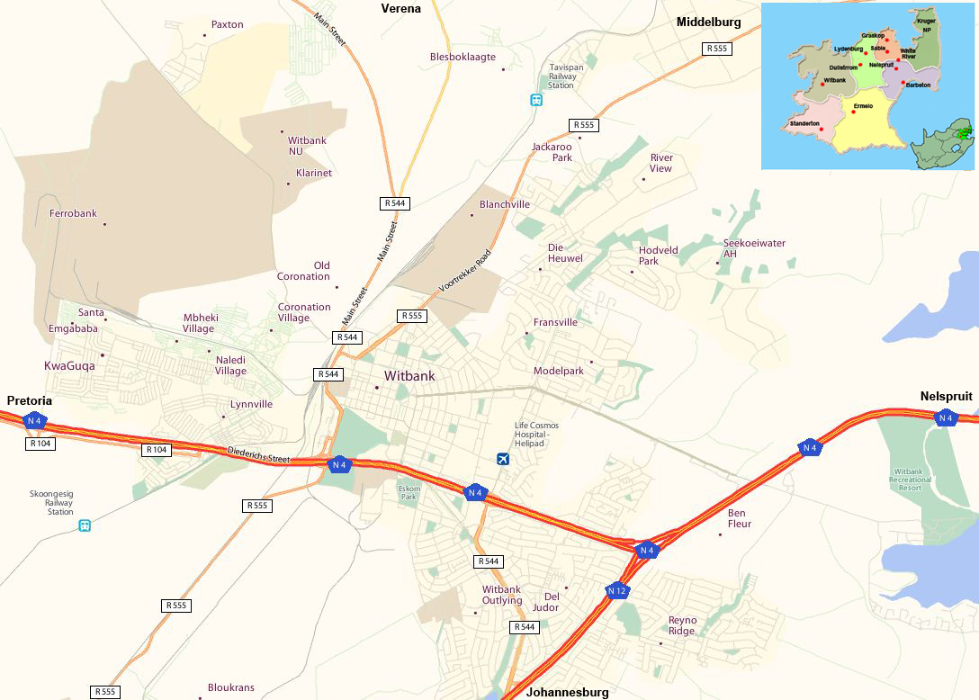 Witbank street map