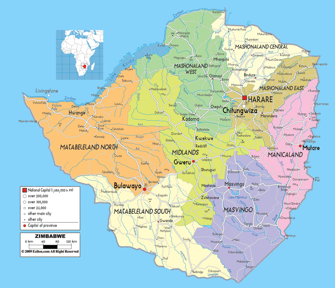Map Of Africa Showing Zimbabwe.Road Map Zimbabwe And Other Maps Of Zimbabwe